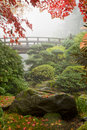 Rock and Bridge at Japanese Garden Royalty Free Stock Photo
