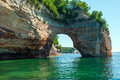Rock bridge, Pictured Rocks National Lakeshore, Lake Superior, M Royalty Free Stock Photo