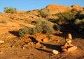 Rock Cairn on Desert Trail Stock Photos