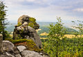 Rock callled ape in table mountains poland gory stolowe and landscape of klodzko valley Royalty Free Stock Photography