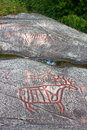 Rock carvings in norway a moose or deer and other animals Stock Images
