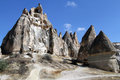 Rock with caves near gereme in cappadocia turkey Royalty Free Stock Images