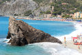 Rock at Cinque Terre village Monterosso al Mare and Mediterranean Sea Royalty Free Stock Photo