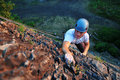 Rock climber ascending Royalty Free Stock Photo