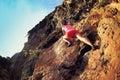 rock climber climbing at seaside mountain rock Royalty Free Stock Photo