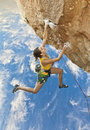 Rock climber dangling. Royalty Free Stock Photography