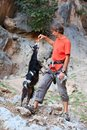 Rock climber feeding a goat at a cliff in safety harness Stock Image