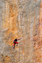 The rock-climber during rock conquest Royalty Free Stock Photography