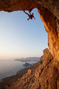 Rock climber at sunset Royalty Free Stock Photo