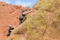 Rock climbers in Colorado Garden of the Gods on vertical climb Royalty Free Stock Photo