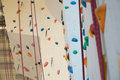 Rock climbing wall indoor sports equipment Royalty Free Stock Photo