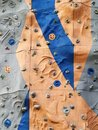 Rock climbing walls with difficulty and color Royalty Free Stock Photo