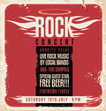 Rock concert retro poster design template on old paper texture Royalty Free Stock Image