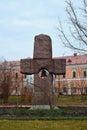 Rock cross near belfry in kyev ukrain at podol Royalty Free Stock Photo