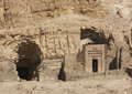 Rock cut tombs near mortuary temple of hatshepsut detail the in egypt Royalty Free Stock Photography