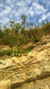 Rock deposits formed by sea and plates of white limestone coast landscape Royalty Free Stock Photos