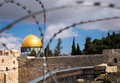 Rock dome in jerusalem behind wired fence religion conflict sad reality of the arab jewish conflicts on the temple mount israel Royalty Free Stock Photo