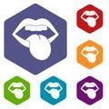 Rock emblem icons set hexagon