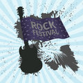 Rock festival banner with guitar and flag, grunge style Royalty Free Stock Photo
