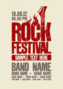 Rock festival design template with bass guitar and place for text Stock Images