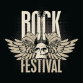 Rock festival poster for a with skull guitar and wings Royalty Free Stock Images