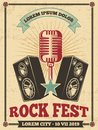 Rock festival vintage vector poster. Rock and roll concert retro background