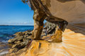 Rock formation colourful at sydney coast Royalty Free Stock Photo