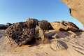Rock formation in Namib desert in sunset, landscape Royalty Free Stock Photo