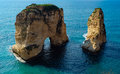 Rock formation in the sea - Pigeons Rock / Sabah Nassar`s Rock / Raouche in Beirut, Lebanon Royalty Free Stock Photo