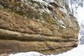 Rock formation on a trail at pictured rocks national lakeshore near munising mi Stock Image
