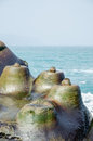 Rock formation at yehliu geopark taiwan Royalty Free Stock Image
