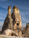 Rock formations in cappadocia turkey fairy chimney and house monks valley near goreme Stock Image