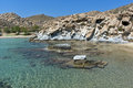 Rock formations in kolymbithres beach paros island cyclades greece Royalty Free Stock Image