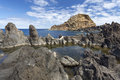 Rock formations on madeira s coast portugal Stock Images