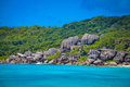 Rock formations in Seychelles Royalty Free Stock Photo