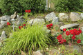 Rock garden with solar lamp Royalty Free Stock Photo