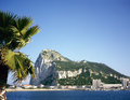 Rock of gibraltar on a sunny day seen from across the bay Stock Photography