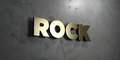 Rock - Gold sign mounted on glossy marble wall  - 3D rendered royalty free stock illustration Royalty Free Stock Photo