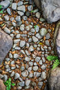 Rock and gravel in natural setting combination of various stones plants Stock Photo