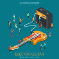 Rock guitar and amp combo with micro people acoustic bass flat d web isometric infographic vector music equipment concept creative Royalty Free Stock Photography