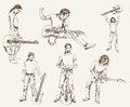 Rock guitarist set of vector sketches Stock Photos