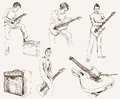 Rock guitarist set of vector sketches Royalty Free Stock Photography