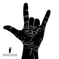 Rock on hand sign, rock n roll, hard rock, heavy metal, music, d Royalty Free Stock Photo