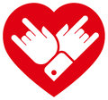 Rock in heart icon vector sign of with two crossed hands showing gesture inside isolated on white background Royalty Free Stock Photos