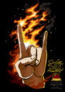 Rock on human hand black background with fire flames and custom freehand and roll lettering eps all vector Royalty Free Stock Image