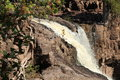 Rock ledge of waterfall at Gooseberry Falls Minnesota Royalty Free Stock Photo