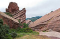 Rock Ledges and Mountains of Red Rocks Royalty Free Stock Photo
