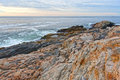 Rock ledges and sea at Pemaquid Point, Maine Royalty Free Stock Photo
