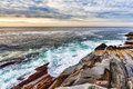 Rock ledges and sea at pemaquid point maine view of the colorful with the ocean in the background sunrise in Stock Images