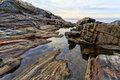 Rock ledges and tidal pools, Pemaquid Maine Royalty Free Stock Photo